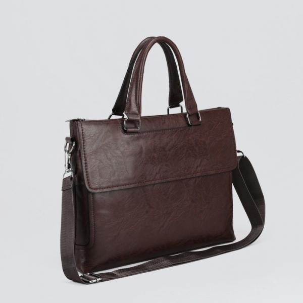Сумка мужская, отдел на молнии, отдел для планшета, 2 наружных кармана, регулируемый ремень, цвет коричневый