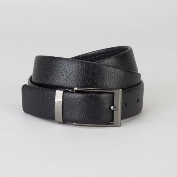 Ремень мужской, ящер, пряжка тёмный металл, ширина - 3 см, цвет чёрный