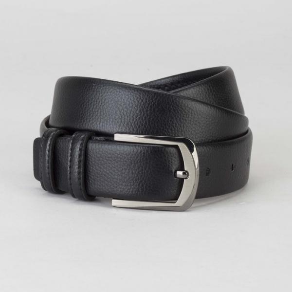 Ремень мужской, гладкий, пряжка тёмный металл, ширина - 3,5 см, цвет чёрный