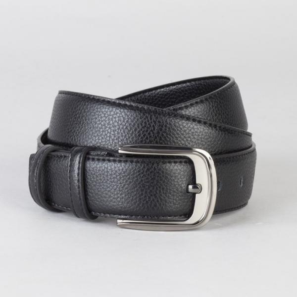 Ремень мужской, гладкий, пряжка тёмный металл, ширина - 3,7 см, цвет чёрный