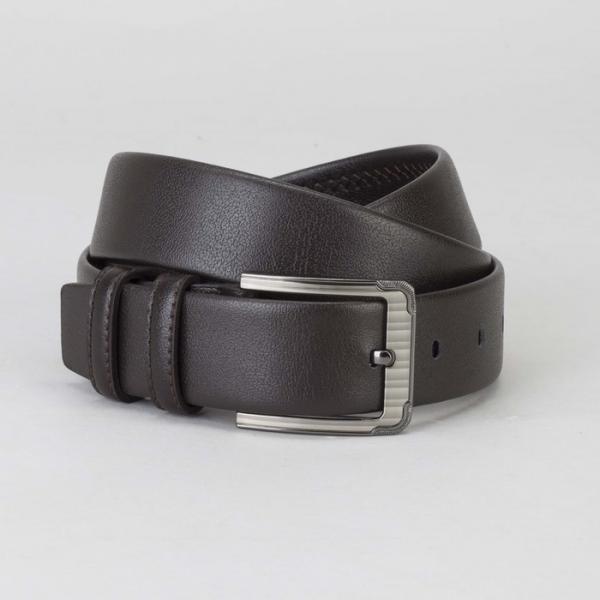 Ремень мужской, гладкий, пряжка тёмный металл, ширина - 3,5 см, цвет коричневый
