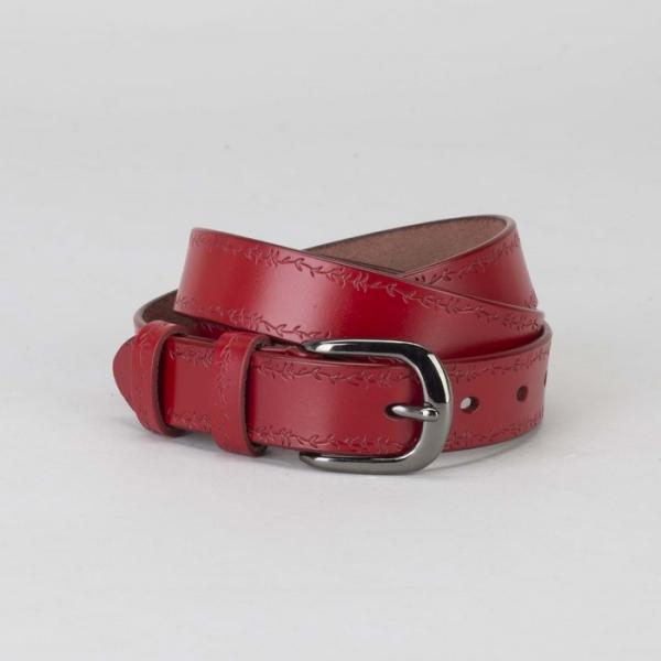 Ремень женский, пряжка тёмный металл, ширина - 2,7 см, цвет красный