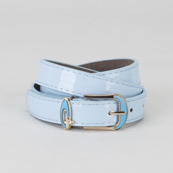 Ремень женский, гладкий, пряжка и хомут золото, ширина - 2,2 см, цвет голубой