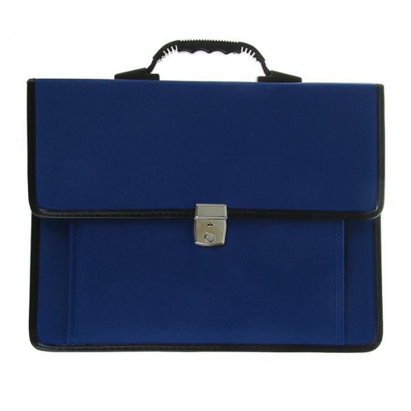 Портфель деловой ткань 380х290х10 мм «Сосново» синий , с плечевым ремнем