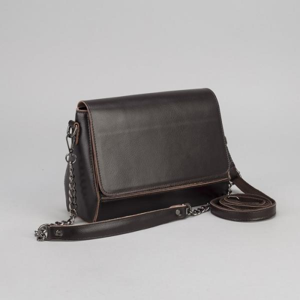 Сумка женская, отдел с перегородкой на молнии, наружный карман, длинный ремень, цвет коричневый