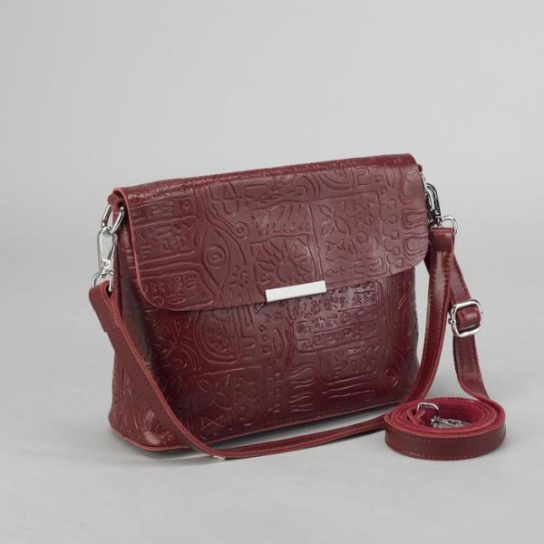 Сумка женская, отдел на молнии, наружный карман, цепь, длинный ремень, цвет бордовый