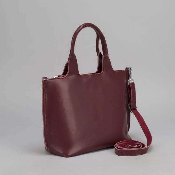 Сумка женская, отдел с перегородкой на молнии, наружный карман, длинный ремень, цвет бордовый