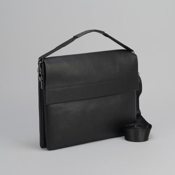 Планшет мужской, 3 отдела на молнии, наружный карман, длинный ремень, с ручкой, цвет чёрный