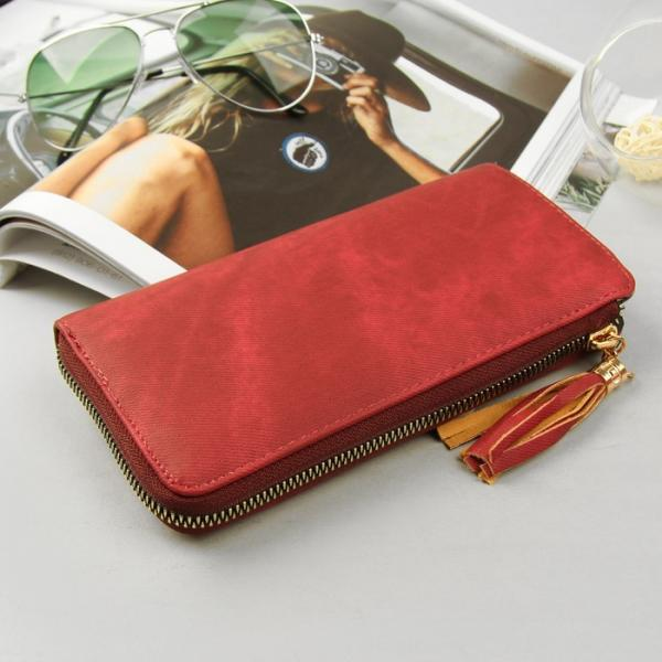 Кошелёк женский, 4 отдела, для карт, для монет на молнии, джинс красный
