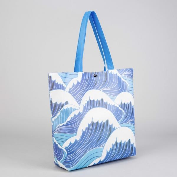 Сумка хозяйственная «Волна», отдел без молнии, цвет голубой