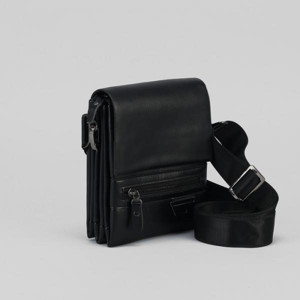Планшет мужской, 3 отдела на молнии, 2 наружных кармана, регулируемый ремень, цвет чёрный