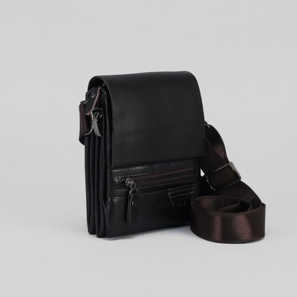 Планшет мужской, 3 отдела на молнии, 2 наружных кармана, регулируемый ремень, цвет коричневый