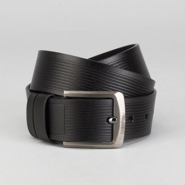 Ремень мужской, пряжка тёмный металл, ширина - 4,5 см, цвет чёрный