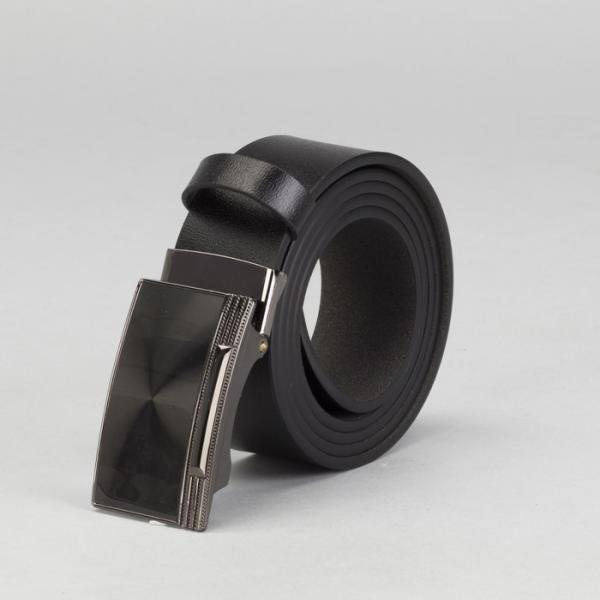Ремень мужской, гладкий, пряжка зажим, ширина - 4 см, цвет чёрный