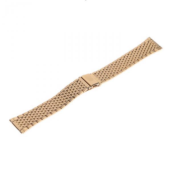 Ремешок для часов 20 мм, металл, протектор звенья, золото, 17 см