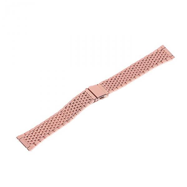 Ремешок для часов 20 мм, металл, протектор звенья, розовое золото, 17 см