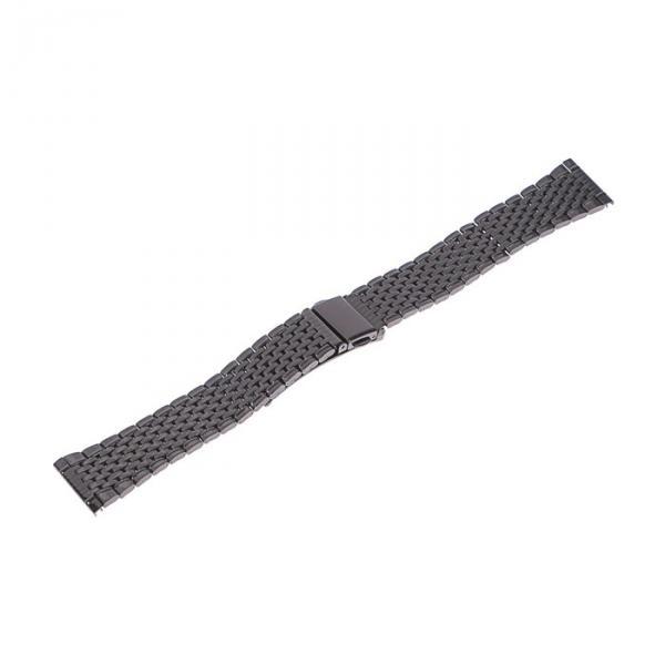 Ремешок для часов 22 мм, металл, чёрный хром, 17 см