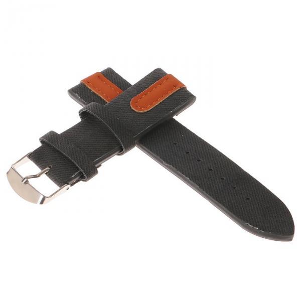 Ремешок для часов, 24мм, экокожа, чёрный с коричневыми вставками, 22.5см