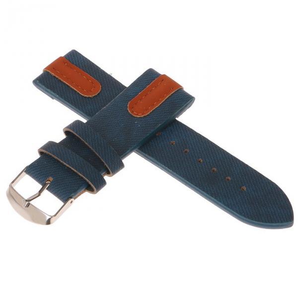 Ремешок для часов, 24мм, экокожа, синий под джинсу с коричневыми вставками, 22.5 см