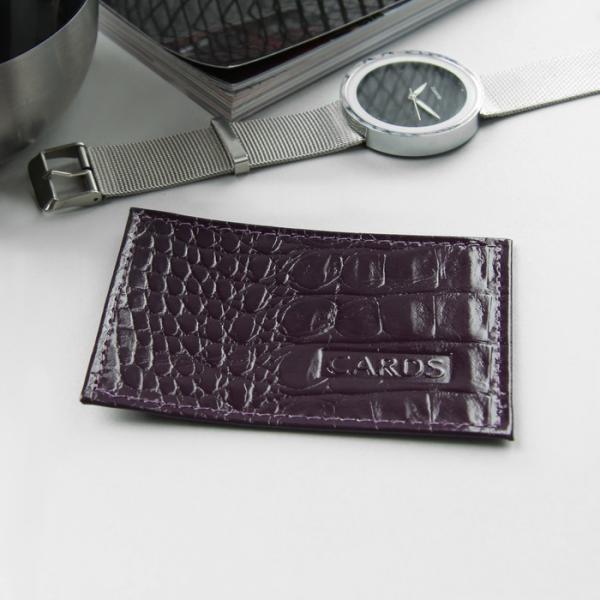 Футляр для карточки, кайман, цвет фиолетовый