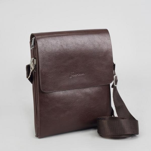 Планшет мужской, 3 отдела на молниях, 2 наружных кармана, длинный ремень, цвет коричневый