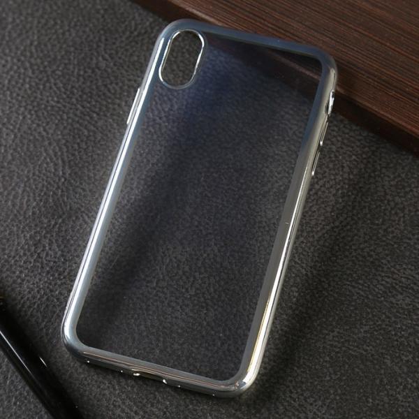 Чехол силиконовый Luazon для IPhone X, прозрачный, серебристая окантовка