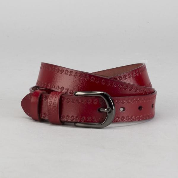 Ремень женский, пряжка под тёмный металл, ширина - 3 см, цвет красный