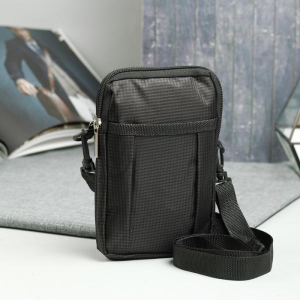 Сумка поясная, 2 отдела на молниях, наружный карман, регулируемый ремень, цвет чёрный