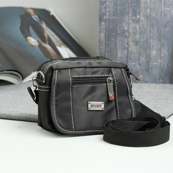 Сумка пояс, 2 отдела на молниях, 2 наружных кармана, регулируемый ремень, цвет чёрный