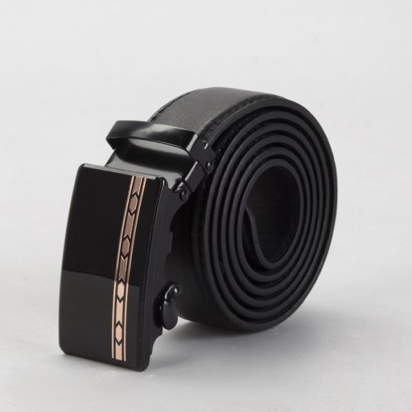 Ремень мужской, винт, пряжка автомат под тёмный металл, ширина - 3,5 см, цвет чёрный гладкий