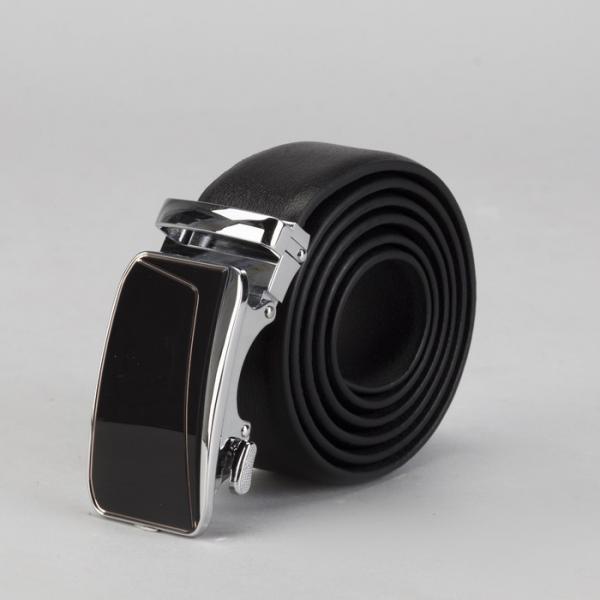Ремень мужской, винт, пряжка автомат металл, ширина - 3,5 см, цвет чёрный гладкий