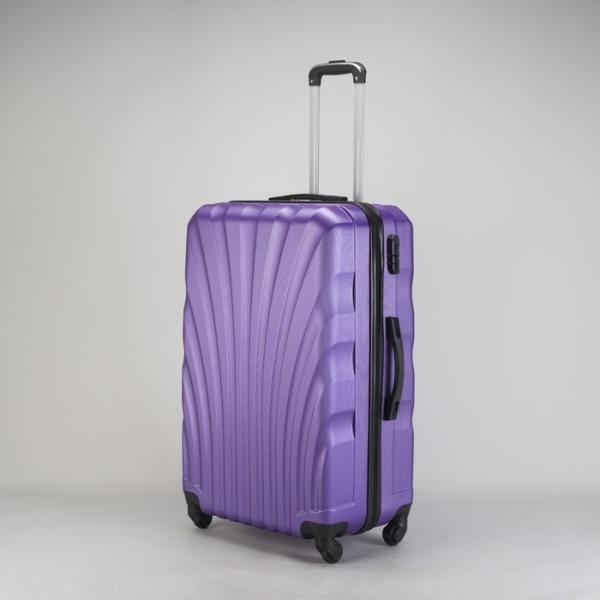 """Чемодан большой """"Ракушка"""" 28"""", отдел на молнии, кодовый замок, 4 колеса, цвет фиолетовый"""