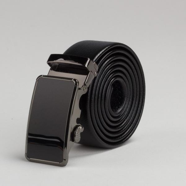 Ремень мужской, пряжка автомат под тёмный металл, ширина - 3,5 см, цвет чёрный