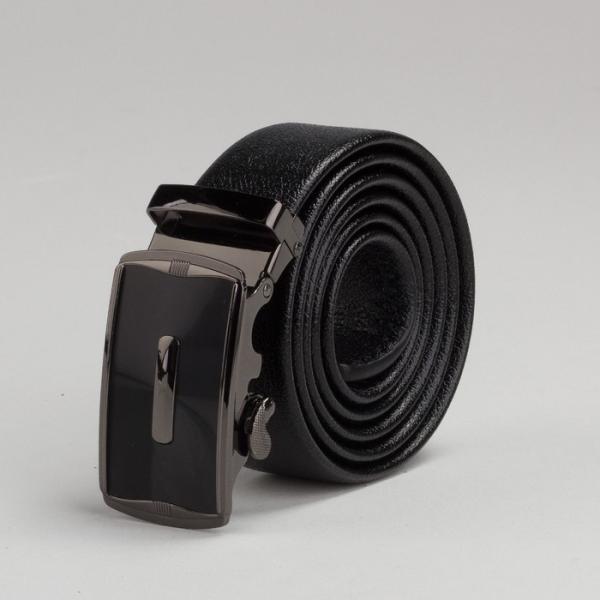 Ремень мужской, рисунок под кожу, пряжка автомат под тёмный металл, ширина - 3,5 см, цвет чёрный