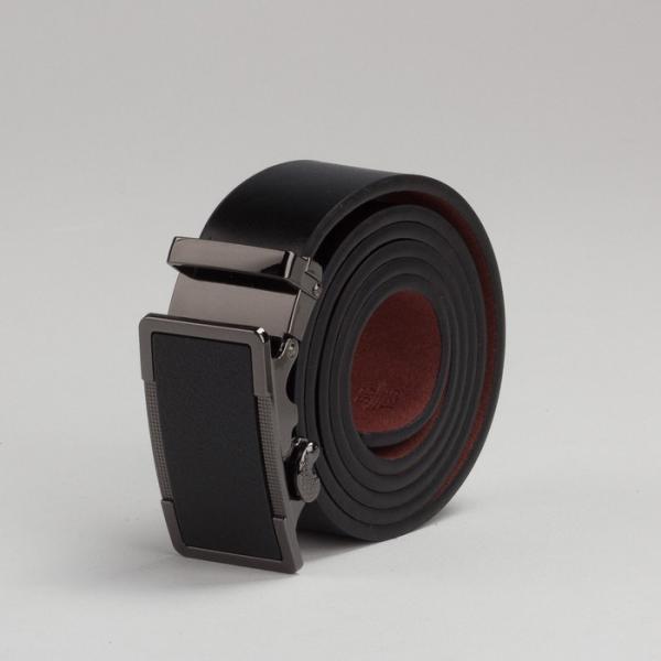 Ремень мужской, пряжка автомат под тёмный металл, ширина - 3,5 см, цвет чёрный гладкий
