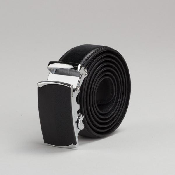Ремень мужской, рисунок под кожу, 2 строчки, пряжка автомат металл, ширина - 3,5 см, цвет чёрный