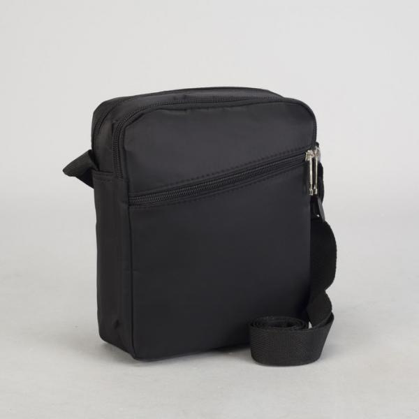 Планшет мужской, 2 отдела на молниях, 2 наружных кармана, регулируемый ремень, цвет чёрный