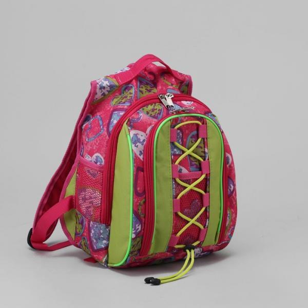 """Рюкзак школьный """"Сердечки"""", отдел на молнии, наружный карман, цвет розовый"""