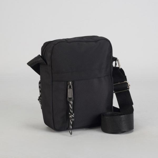 Планшет мужской, отдел на молнии, 2 наружных кармана, регулируемый ремень, цвет чёрный
