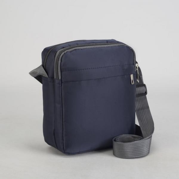 Планшет мужской, 2 отдела на молниях, 2 наружных кармана, регулируемый ремень, цвет синий