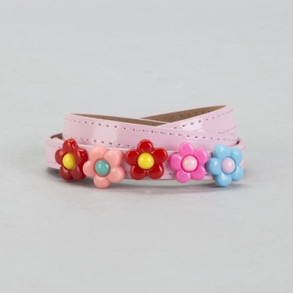 Ремень детский, гладкий, ширина - 1,3 см, пряжка металл, цвет розовый