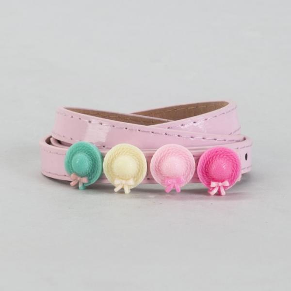 Ремень детский, гладкий, ширина - 1 см, пряжка металл, цвет розовый