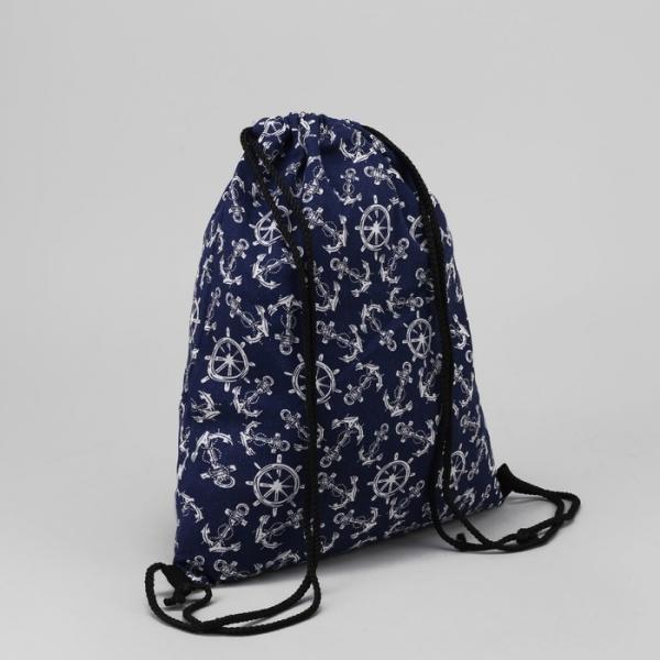 """Мешок для обуви """"Морской"""", отдел на шнурке, цвет синий"""