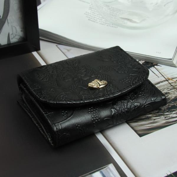 Кошелёк женский, 3 отдела, для карт, отд рамка, цвет чёрный