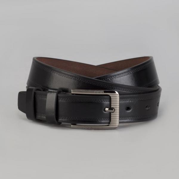 Ремень мужской Великан, пряжка металл, ширина - 3,5 см, цвет чёрный