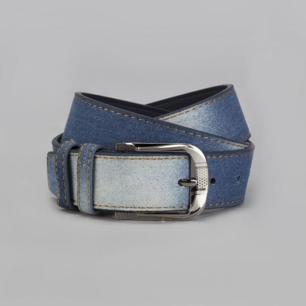 Ремень мужской, джинс, пряжка металл, ширина - 4,5 см, цвет тёмно-синий