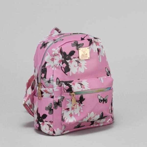 """Рюкзак детский """"Бабочки"""", отдел на молнии, 3 наружных кармана, цвет розовый"""