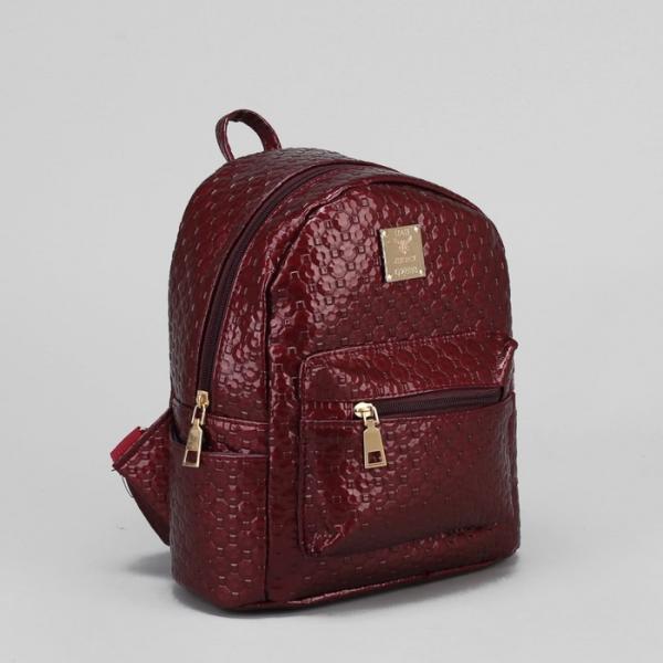 Рюкзак детский, отдел на молнии, 3 наружных кармана, цвет бордовый