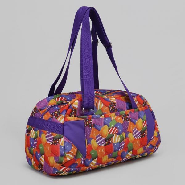 Сумка спортивная, отдел на молнии, наружный карман, цвет сиреневый/разноцветный