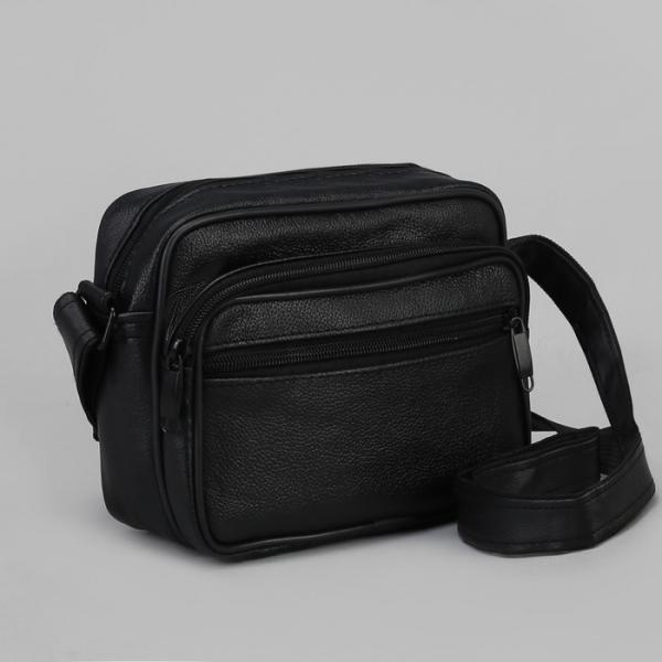 Сумка мужская, отдел на молнии, 3 наружных кармана, регулируемый ремень, цвет чёрный
